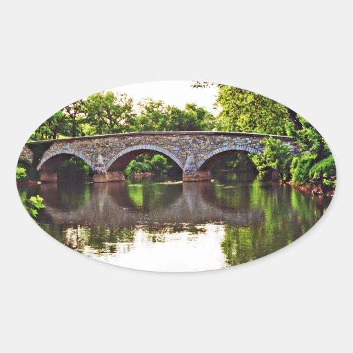 Puente Antietam de Burnside Pegatinas Ovaladas Personalizadas