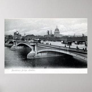 Puente antiguo Londres Inglaterra de Blackfriars Póster