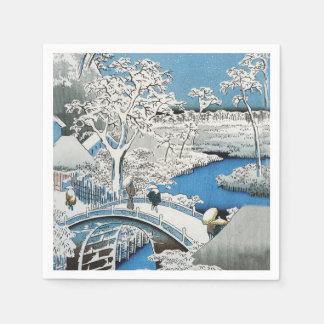 Puente asiático de la nieve de la escena del servilleta de papel