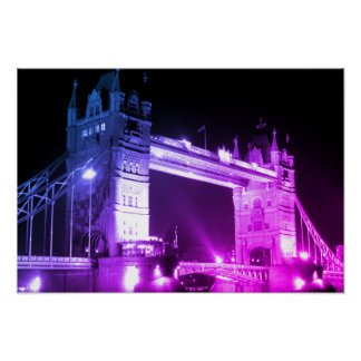 Puente azul de la torre de Londres de la noche Póster