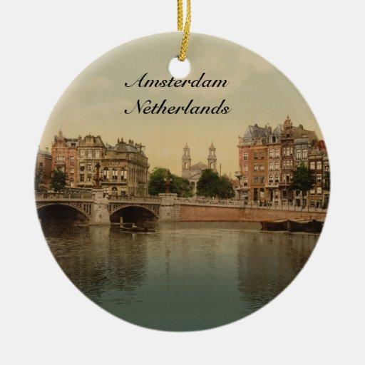 Puente azul y el río de Amstel, Amsterdam Ornamento De Navidad
