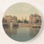 Puente azul y el río de Amstel, Amsterdam Posavasos Diseño