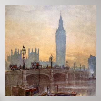 Puente Big Ben Londres Inglaterra de Westminster d Póster