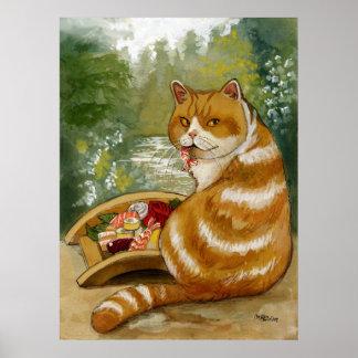 Puente brumoso del gato del sushi póster