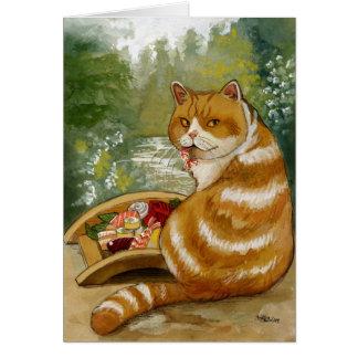 Puente brumoso del gato del sushi tarjeta de felicitación