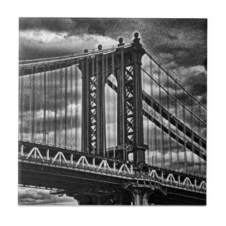 Puente BW A1 de Manhattan de NYC Azulejo Cuadrado Pequeño