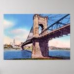 Puente colgante de Cincinnati Ohio Roebling Poster