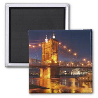 Puente colgante del río Ohio Imanes De Nevera