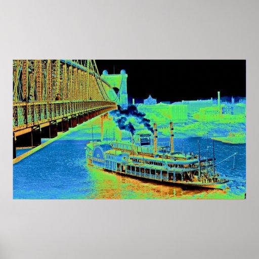 Puente colgante y barco de vapor 1906 de Cincinnat Póster