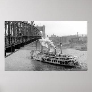 Puente colgante y barco de vapor de Cincinnati BW  Impresiones