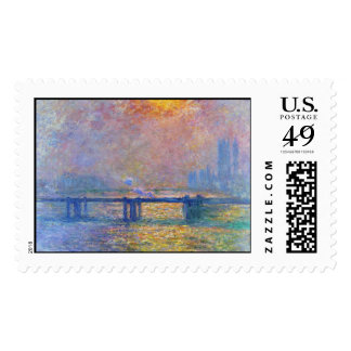 Puente cruzado de Charing, el Thames, Claude Monet Estampillas