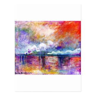 Puente cruzado de Claude Monet Charing Tarjeta Postal