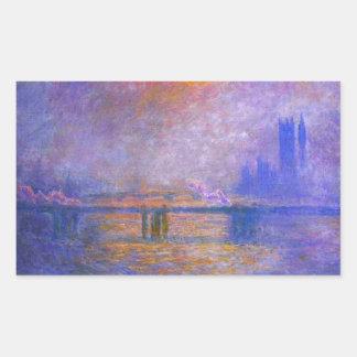 Puente cruzado de Monet Charing Pegatina Rectangular