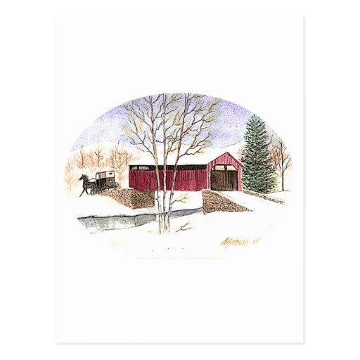 Puente cubierto de Amish Tarjetas Postales