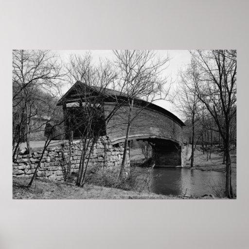 Puente cubierto del Humpback Póster