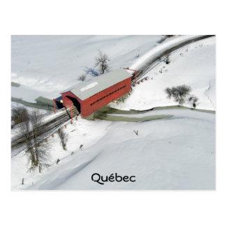Puente cubierto rojo, Québec Postales
