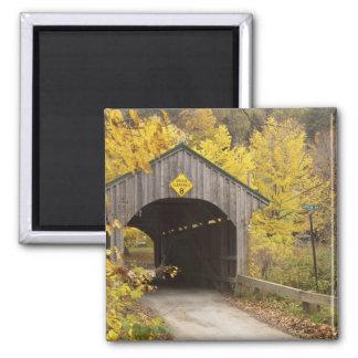 Puente cubierto, Vermont, los E.E.U.U. 2 Imán Cuadrado