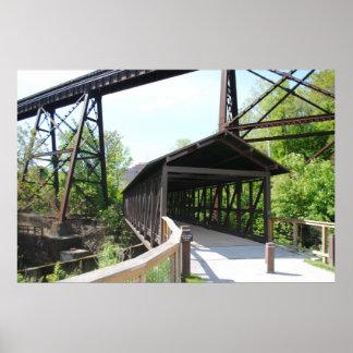 Puente cubierto y puente Akron, Ohio del tren Póster