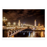 Puente de Alexander 3 en París Francia en la noche Postales