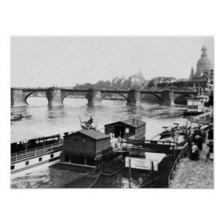 Puente de Augustus, Dresden, c.1910 Póster