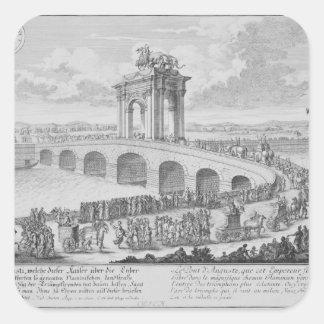 Puente de Augustus encendido vía Flaminia, cerca Pegatina Cuadrada