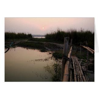 Puente de bambú el Ganges Bengala Occidental la Tarjeton