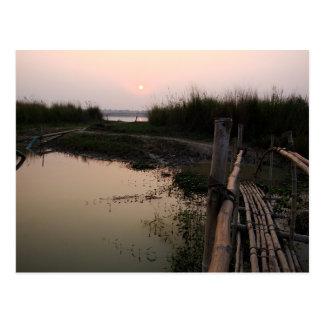 Puente de bambú el Ganges Bengala Occidental la Tarjeta Postal