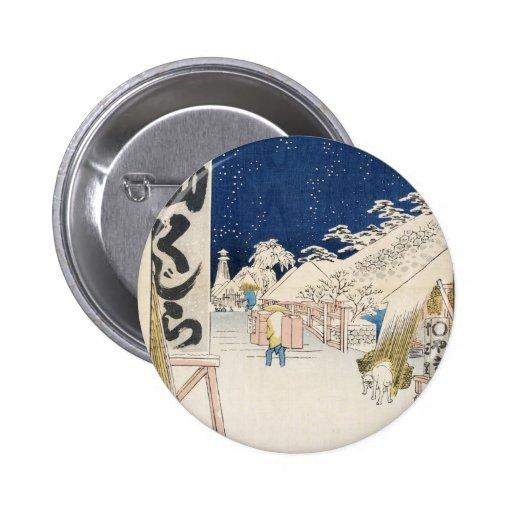 Puente de Bikuni en nieve por Hiroshige Pin Redondo 5 Cm