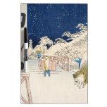 Puente de Bikuni en nieve por Hiroshige Tableros Blancos