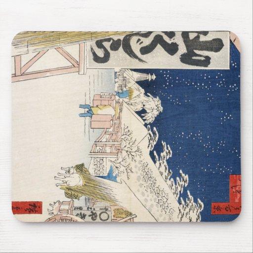 Puente de Bikuni en nieve por Hiroshige Tapetes De Ratón