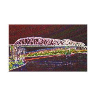 Puente de braguero sobre el río Missouri Lona Estirada Galerias
