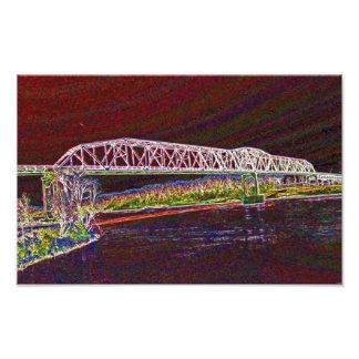 Puente de braguero sobre el río Missouri Impresiones Fotograficas