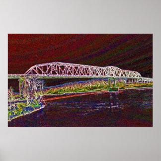 Puente de braguero sobre el río Missouri Póster