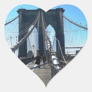 Puente de Brooklyn 2 Pegatina En Forma De Corazón