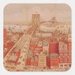Puente de Brooklyn, c.1883 Pegatina Cuadrada