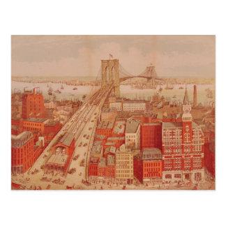 Puente de Brooklyn, c.1883 Postal