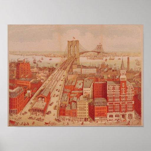 Puente de Brooklyn, c.1883 Póster
