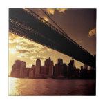Puente de Brooklyn con los rascacielos de New York Azulejo Cerámica