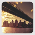 Puente de Brooklyn con los rascacielos de New York Calcomanía Cuadradas Personalizadas