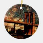 Puente de Brooklyn de la noche estrellada Adorno Para Reyes