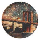 Puente de Brooklyn de la noche estrellada Plato De Comida