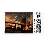Puente de Brooklyn de la noche estrellada Sello