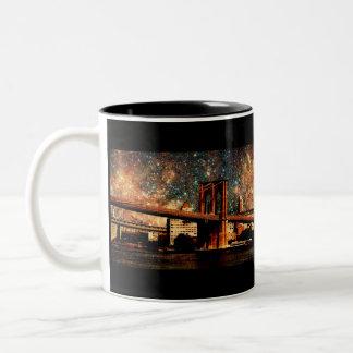 Puente de Brooklyn de la noche estrellada Taza De Café