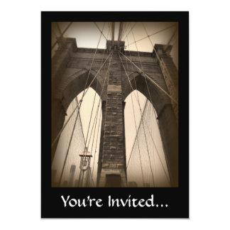 """Puente de Brooklyn de la sepia del vintage Invitación 5"""" X 7"""""""