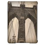 Puente de Brooklyn de la sepia del vintage Nueva Y