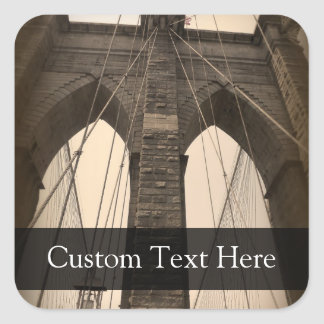 Puente de Brooklyn de la sepia del vintage Pegatina Cuadradas Personalizada