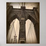 Puente de Brooklyn de la sepia del vintage Posters