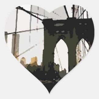 Puente de Brooklyn del arte pop Pegatina En Forma De Corazón