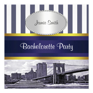 Puente de Brooklyn del horizonte de NYC Bacheloret Invitacion Personal