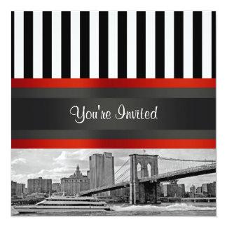 Puente de Brooklyn del horizonte de NYC, Invitación 13,3 Cm X 13,3cm